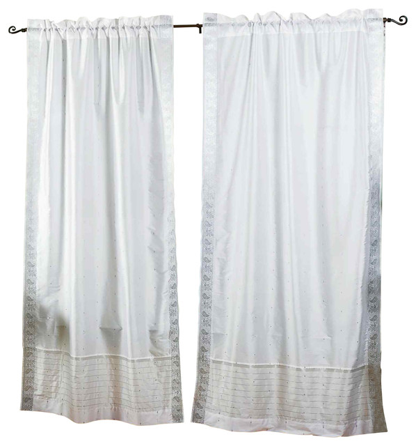 Pair of White Silver Rod Pocket Sheer Sari Curtains, 43 X 84 In. eclectic-curtains