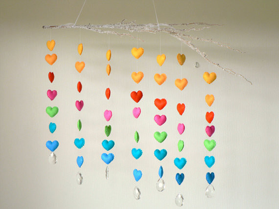 Hanging Felt Heart Mobile by Lullaby Mobiles modern mobiles