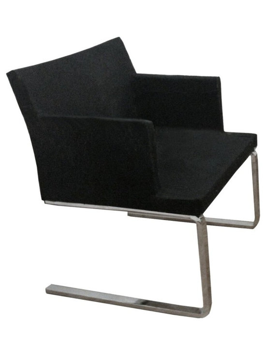 """Soho Flat Armchair by sohoConcept - Soho Flat is an elegant armchair designed ideally for lounge and waiting areas. The chair has a comfortable upholstered seat and backrest on a chromed solid steel cantilever framed leg structure with embedded plastic gliders on the bottom. Thanks to its lower seat, the chair fits perfectly the lounge and living rooms.The seat has a steel structure with """"S"""" shape springs for extra flexibility and strength. This steel frame molded by injecting polyurethane foam. Soho Flat seat is upholstered with a removable velcro enclosed leather, PPM or wool fabric slip cover. The chair is suitable for both residential and commercial use."""