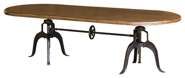 "Double Crank Oval Adjustable Height Table 104"" industrial-dining-tables"