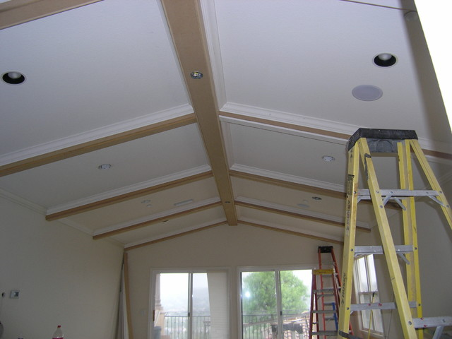 False beams added to master bedroom ceiling Master bedroom ceiling beams