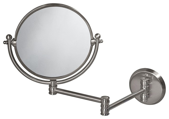 """Traditional Gatco 19 1/2"""" Wide Nickel Swing Arm Wall Mirror traditional-mirrors"""