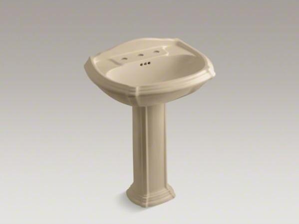 "KOHLER Portrait(R) pedestal bathroom sink with 8"" widespread faucet holes contemporary-bathroom-sinks"