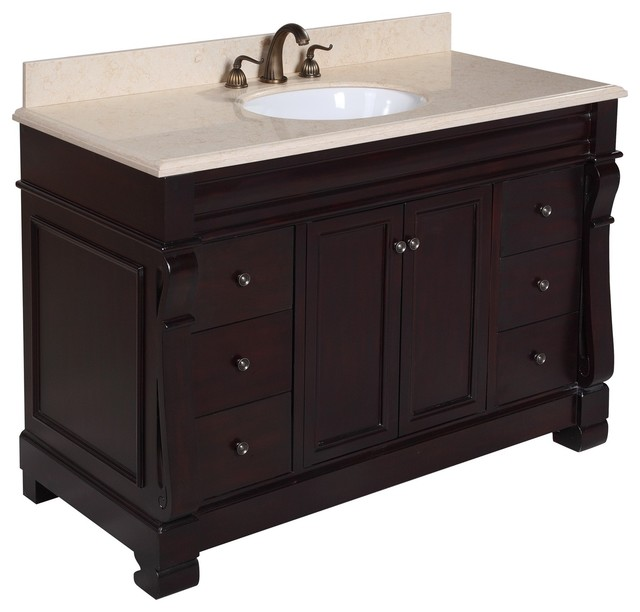 Westminster 48-in Bath Vanity (Travertine/Chocolate) - Traditional - Bathroom Vanities And Sink ...