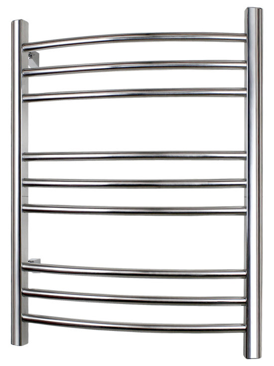 Warmly Yours - WarmlyYours Towel Warmer Riviera Hard-wire 9-bar Brushed Stainless - The Riviera Towel Warmer is manufactured with superior-quality stainless steel and is available in both a polished or brushed finish  both finishes providing maximum durability and long lasting beauty. It has 9 sleek curved, horizontal bars designed to dry and warm large towels or bathrobes with ease. The Riviera comes with a programmable timer, allowing you the flexibility to set it in advance so that your towels are warm and ready for you when you step out of the shower or bath.