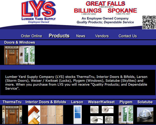 """Lumber Yard Supply Co. Stocked Products - Lumber Yard Supply Company (LYS) stocks ThermaTru, Interior Doors & Bifolds, Larson (Storm Doors), Weiser / Kwikset (Locks), Plygem (Windows), Solatube (Skylites) and more. When you purchase from LYS you will receive """"Quality Products; and Dependable Service""""."""