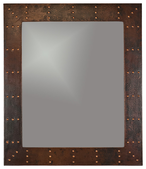 Rectangle Copper Mirror Rivets Rustic Mirrors