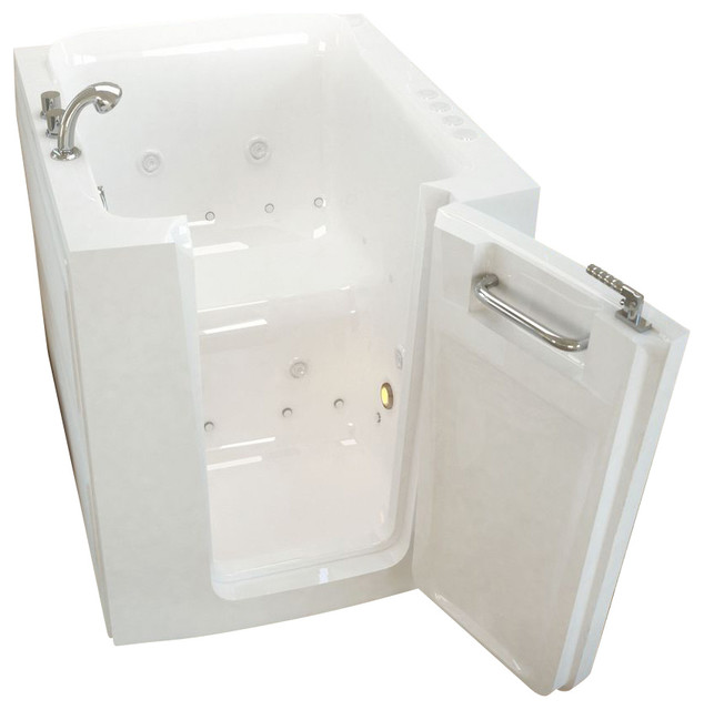 Meditub 32x38 Right Drain White Whirlpool and Air Jetted Walk-In Bathtub traditional-bathtubs