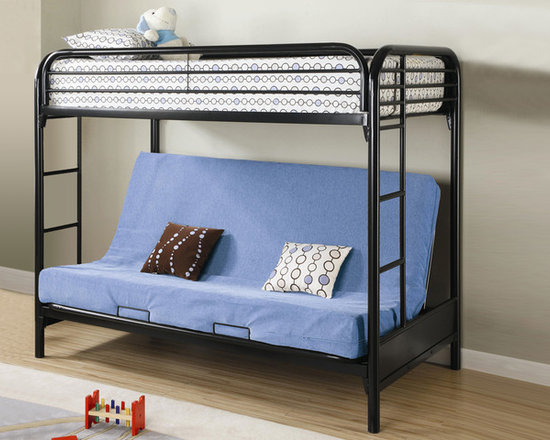 Metal Black Futon Bunk Bed - This futon bunk bed features full length guard rails and welded braces for safety, while built in side ladders allow easy access to the top twin bed. Below is a futon couch which can be converted into a full bed, offering versatile use.