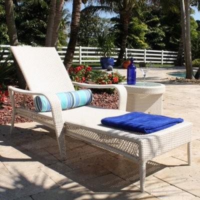 Hospitality Rattan Grenada Patio Chaise Lounge - Viro Fiber White Wash modern-indoor-chaise-lounge-chairs
