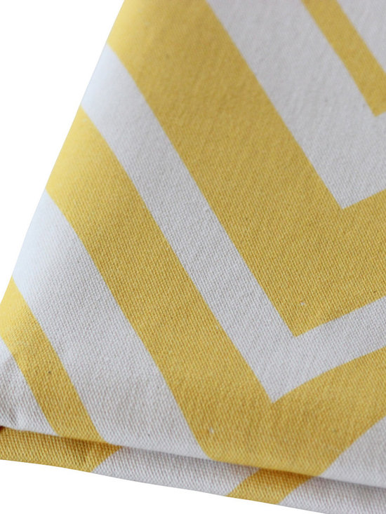 PURE Inspired Design - Chevron Pillow, Bright Yellow/Natural, Swatch - Chevron organic cotton canvas swatch in Bright Yellow and Natural.  All our pattern organic fabric is grown, woven, and printed in the USA.
