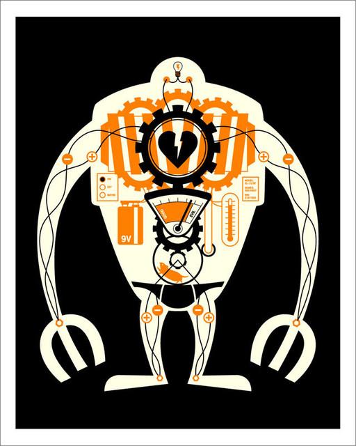 Hybrid-Home Visible Robot, Orange eclectic-artwork