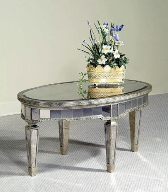 Low Square Mirrored Coffee Table: Borghese Oval Cocktail Table