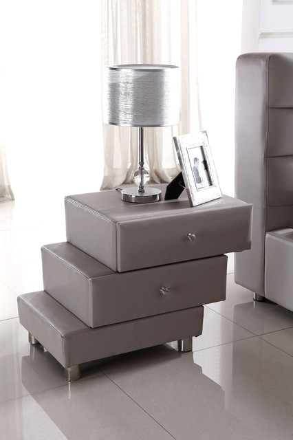Full Leather Upholstered Night Stand modern-nightstands-and-bedside-tables