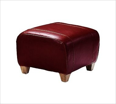 Manhattan Ottoman Leather Berry Red Traditional
