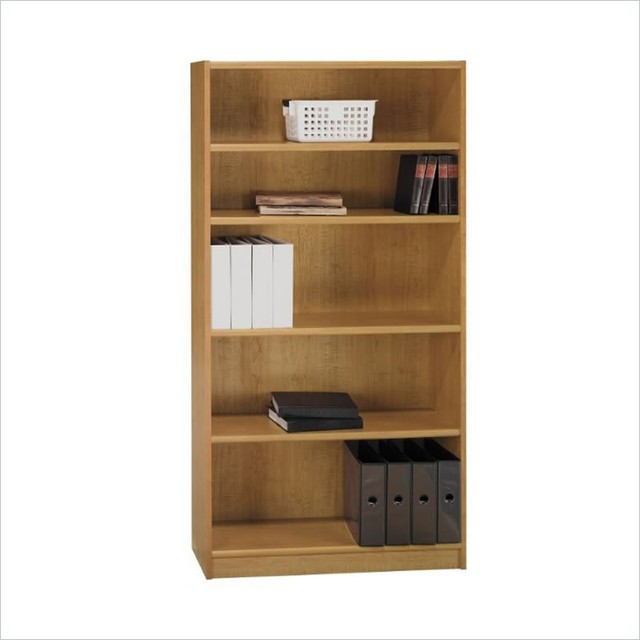 "Bush Universal 72""H 5 Shelf Wood Bookcase in Snow Maple transitional-bookcases-cabinets-and-computer-armoires"