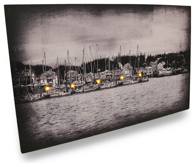 Lighted Harbor Flickering Lights LED Black / White Canvas Wall Hanging - Traditional - Prints ...