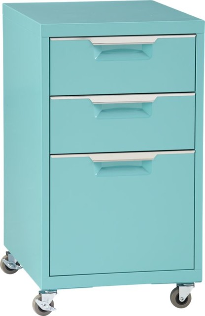 TPS Aqua 3-Drawer Filing Cabinet - Contemporary - Filing Cabinets - by CB2