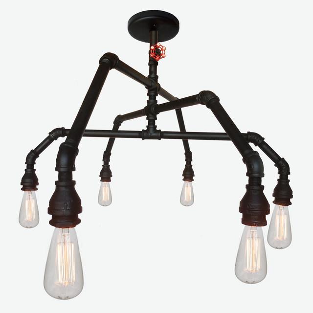 Custom modern vintage cloth cord rustic pipe metal industrial chandelier industrial - Diy industrial chandelier ...