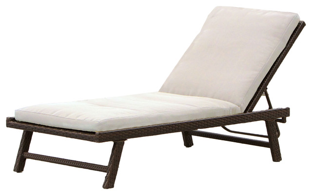 Florida Adjustable Chaise Lounge With Cushion Contemporary Outdoor Chaise