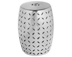 Modern Silver Lattice Garden Stool modern-accent-and-garden-stools