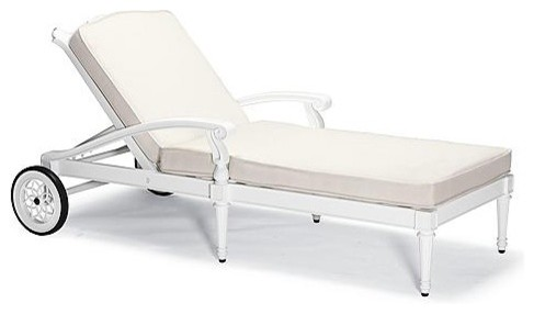 Glen Isle Outdoor Chaise Lounge Chair with Cushions in White Finish - Frontgate, traditional-outdoor-chaise-lounges