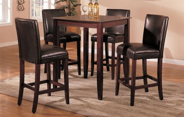 5 Pieces Wood Bar Table Set with 4 Brown Faux Leather  : contemporary bar stools and counter stools from www.houzz.com size 640 x 406 jpeg 76kB