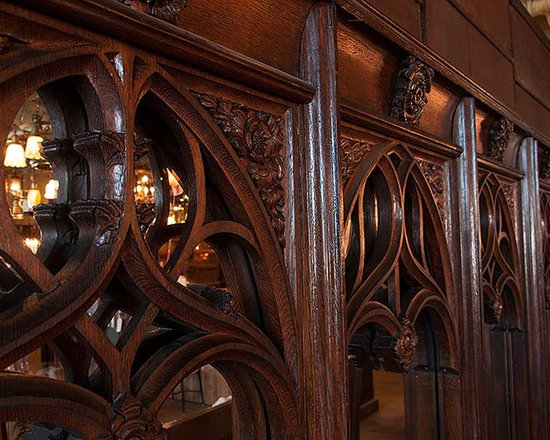 Unique Items- things to design a room around - Close-up of the hand-carved oak tracery