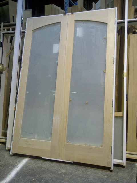 Paint Grade French Pair With Camber Arched White Lami Glass Modern Internal Doors