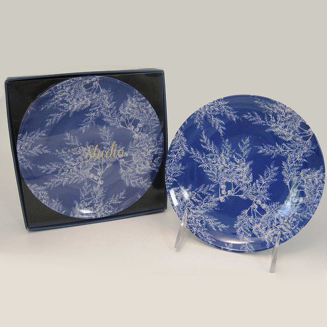 Blue cedar melamine canape plates set of four for Canape plate sets
