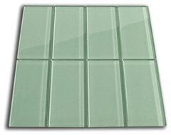 Sage Green Glass Subway Tile, Sample modern-tile