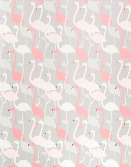 Flamingo Dance Wallpaper Sheet contemporary-wallpaper