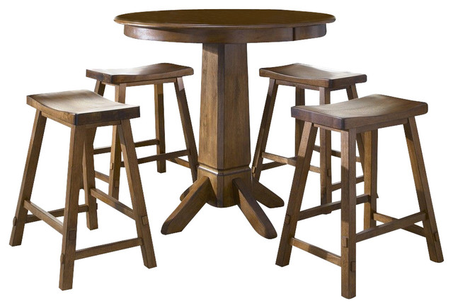 Pub Table Set Solid Wood 2 Swivel Chairs Bar Stools Game