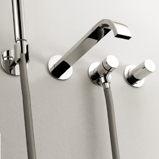 Tub Fixtures : ... Arch Wall Mount Tub Faucet With Hand Shower modern-bathroom-faucets