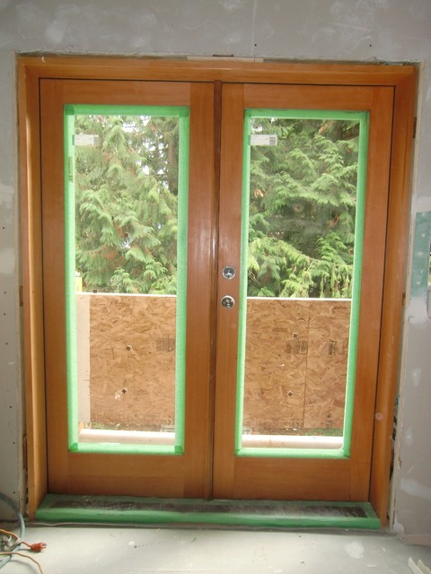 Solid vg fir full lite french door modern front doors for Solid french doors exterior
