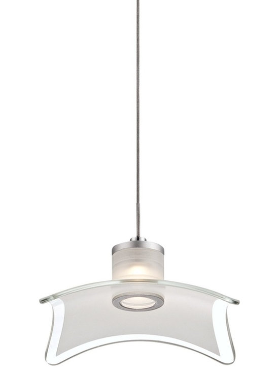 """Possini Euro Design - Possino Euro Andretti 6"""" Wide Frosted Glass Mini Pendant - Andretti contemporary mini pendant. Chrome finish. Frosted and clear glass. From Possini Euro Design. With one 5 watt LED.  Color temperature 3000K. CRI 80.  Measures 6"""" wide 1 1/4"""" high.  Andretti contemporary mini pendant.  Chrome finish.  Frosted and clear glass.  From Possini Euro Design.  Dimmable with low voltage electronic dimmer or LED rated dimmer.   With one 5 watt LED.  Light output is 450 lumens.   Comparable to a 40 watt incandescent.  Color temperature 3000K.  CRI 80.  Measures 6"""" wide 1 1/4"""" high.  Includes 40"""" cord and wire.   Canopy is 4 3/4"""" round 2 1/4"""" high.  Hang weight is 2.6 lbs.   Glass is 7 3/4"""" wide 7 3/4"""" deep."""