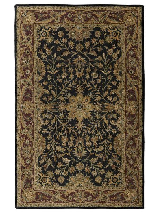 St. Croix Trading Traditions Regal Black Wool PT36 Rug - The Persian Tufted Collection is hand tufted in centuries old traditional designs using blended New Zealand wool. Each rug is hand made by talented artisans of Northern India and will show beautifully for years.