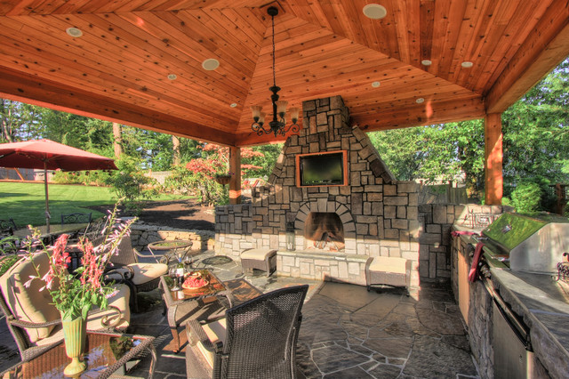 Outdoor living gazebo outdoor fireplace water feature for Gazebo with fireplace
