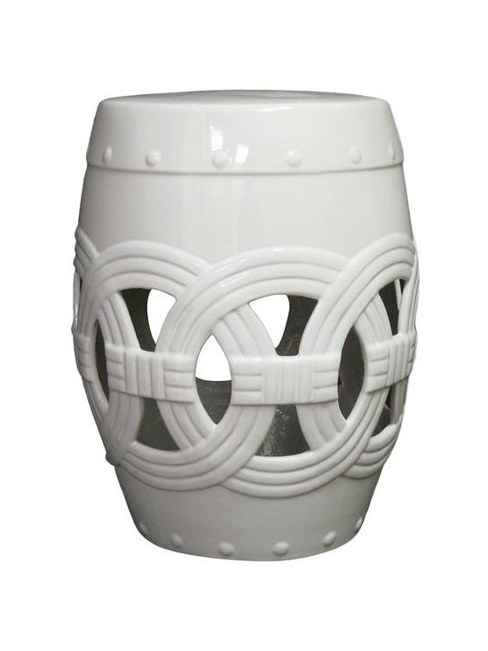 Belle & June - Circle of Life Garden Stool, Pure White - This Circle of Life pure white garden stool will add depth, unique style and a fabulous accent to any room in your home. It features a traditional Chinese design that can be used as a decorative accent for indoors or outdoors. This pure white garden stool is perfect as a side table or outdoor patio accessory. Can also be used as a seat or as a stand-alone decorative element. One of our BEST sellers!