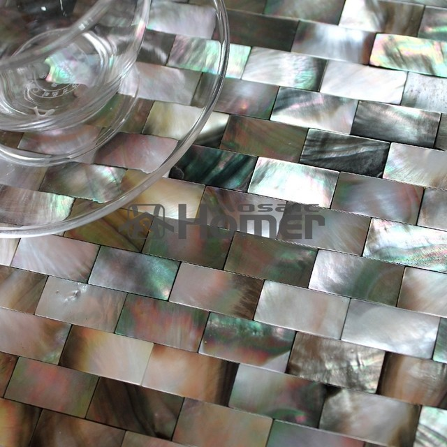 free shipping black mother of pearl tiles groutless