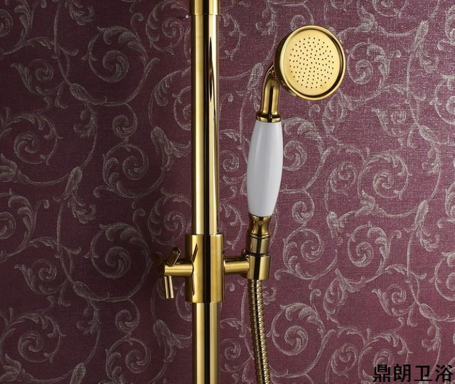 Two Ceramic Handles Polished Bass Wall Mount Rain Shower Taps DL-2866 contemporary-bath-products