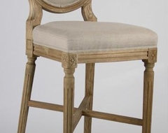 Zentique Medallion Bar Stool In Natural Linen traditional-bar-stools-and-counter-stools