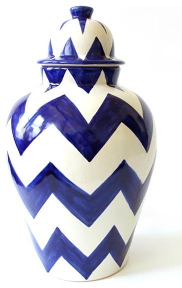 Blue ZigZag Tibor: Talavera Vázquez vases