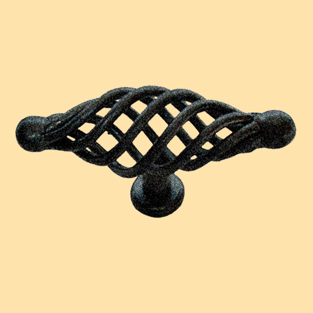 Cabinet Pulls Birdcage Black Wrought Iron Cabinet Pull 3 1/4'' - Rustic - Cabinet And Drawer ...