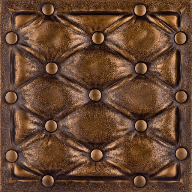 Dct lrt22 faux leather ceiling tile vintage gold for Faux leather floor tiles