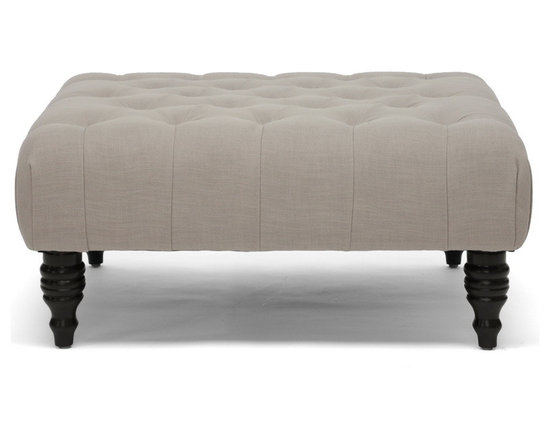 Baxton Studio - Baxton Studio Keswick Beige Linen Modern Tufted Ottoman - Whether used as a modern coffee table, contemporary ottoman, or both, Keswick is a keeper. You will love the beautifully button-tufted beige linen upholstery and the black turned wood legs. Made in China with a eucalyptus wood frame and polyurethane foam cushioning, this upholstered ottoman requires assembly and should be spot cleaned. A dark gray linen option of this style is also offered (sold separately).