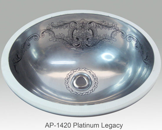 "Hand Painted Undermounts by Atlantis Porcelain - ""PLATINUM LEGACY"" Shown on AP-1420 white Monaco Medium undermount 17-1/4""x14-1/4"". Available on burnished gold or platinum on any of our sinks."