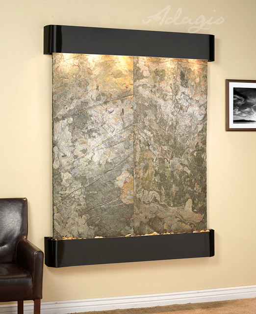 Slate Wall Mounted Water Features - The Majestic River with Green Slate - Contemporary - Indoor ...