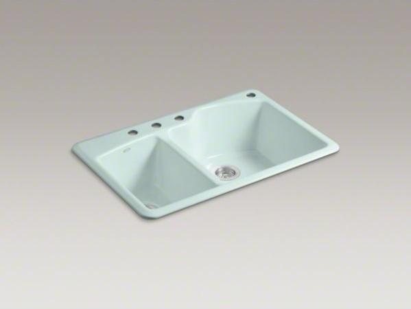 "KOHLER Wheatland(R) 33"" x 22"" x 9-5/8"" top-mount large/medium double-bowl kitche contemporary-kitchen-sinks"
