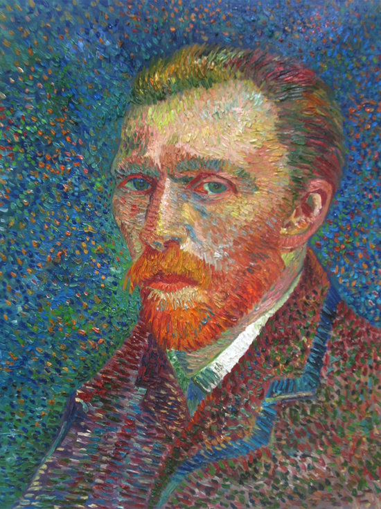 """overstockArt.com - Van Gogh - Self Portrait - 20"""" X 24"""" Oil Painting On Canvas Hand painted oil reproduction of a famous Van Goghs self-portrait. The original masterpiece was created in 1887. Today it has been carefully recreated detail-by-detail, color-by-color to near perfection. Vincent Van Gogh's restless spirit and depressive mental state fired his artistic work with great joy and, sadly, equally great despair. Known as a prolific Post-Impressionist, he produced many paintings that were heavily biographical. This work of art has the same emotions and beauty as the original. Why not grace your home with this reproduced masterpiece? It is sure to bring many admirers!"""